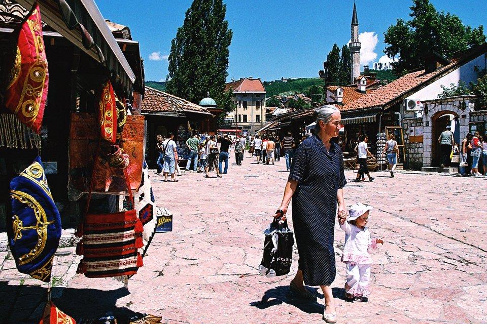 Markt in Sarajevo, Bosnië-Herzegovina