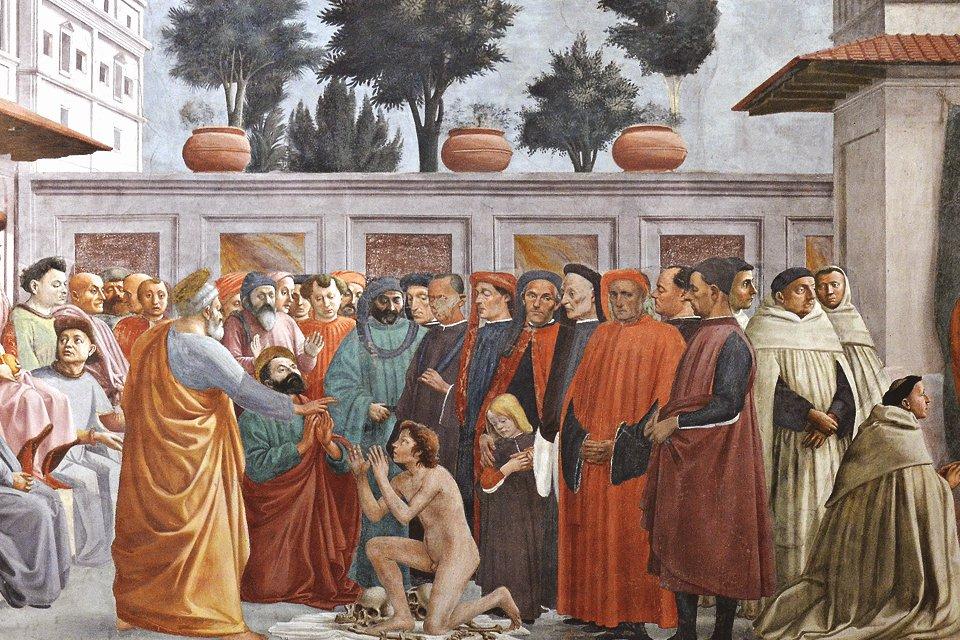 Fresco van Massacio in Florence, Toscane, Italië