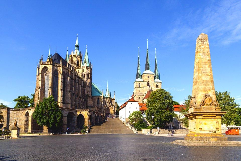 Dom en Severikirche in Erfurt, Duitsland