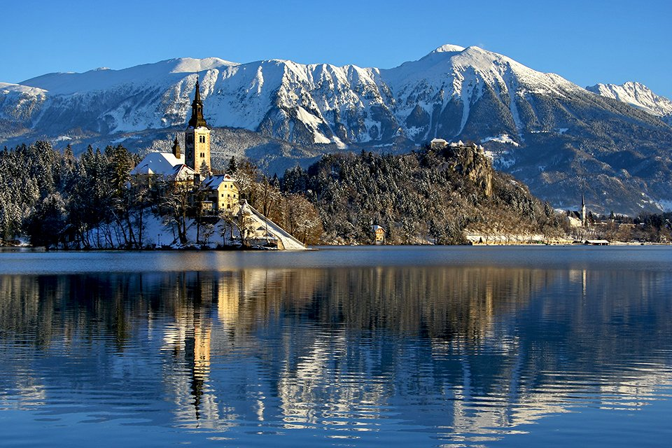 Bled in de winter, Slovenië