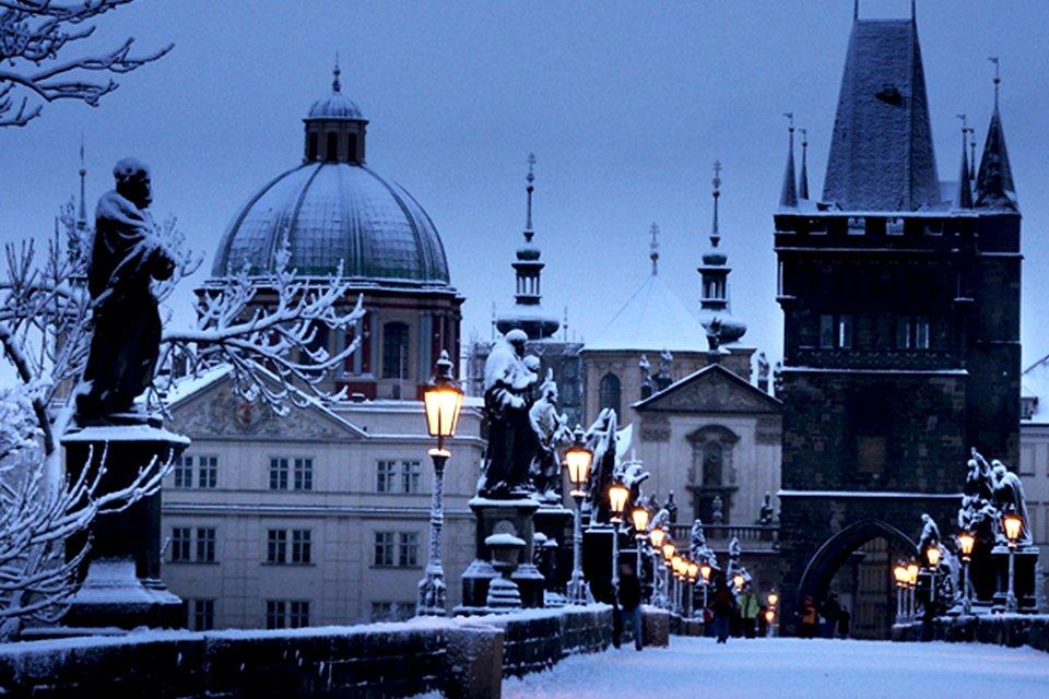Praag in sneeuw, Tsjechië