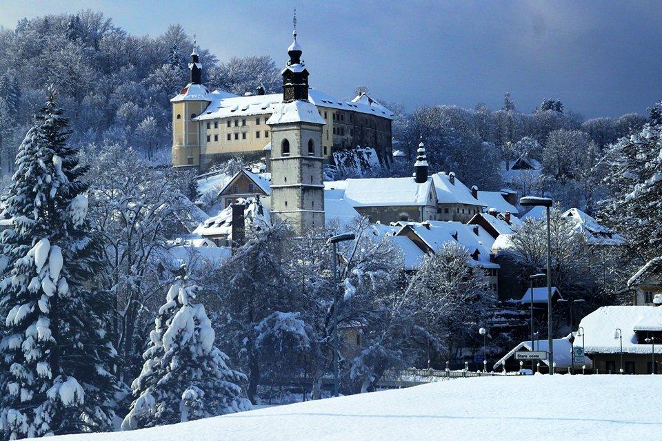 Skofja Loka in de winter, Slovenië