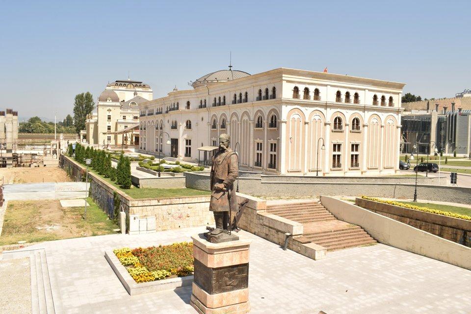 Het centrale plein in Skopje, Macedonië