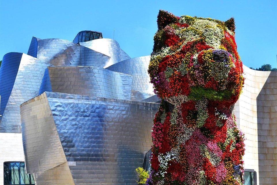 Puppy voor Guggenheim in Bilbao, Spanje