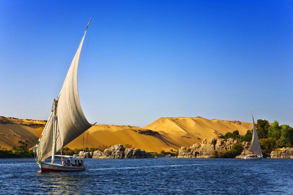 Felucca op de Nijl, Egypte