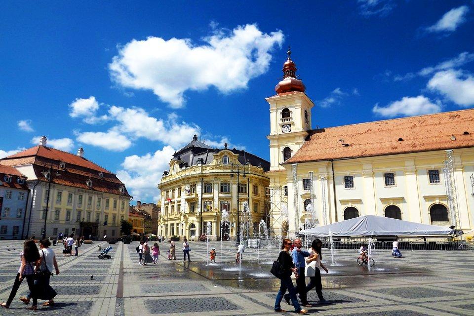 Marktplein in Sibiu, Roemenië