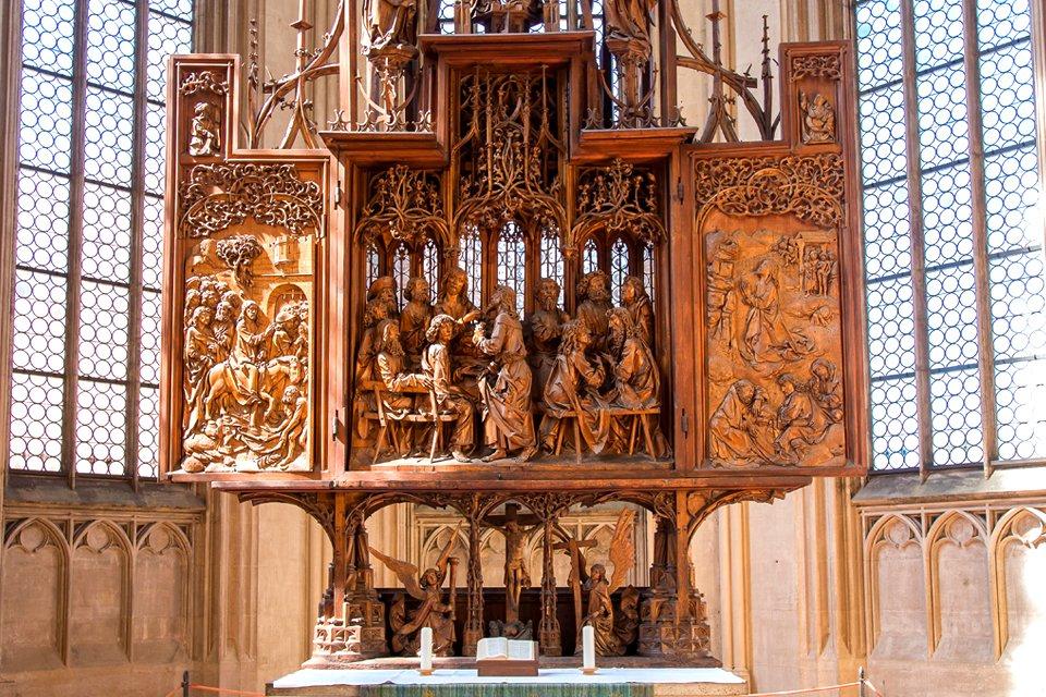 Altaarstuk van Tilman Riemenschneider in Rothenburg, Duitsland