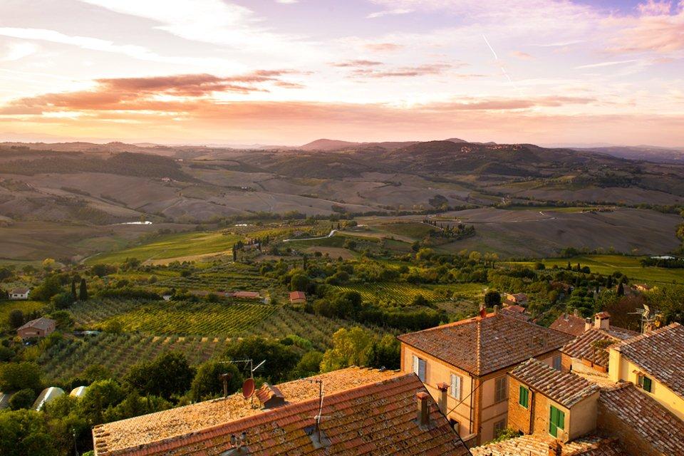 Wijnvelden in Toscane, Italië