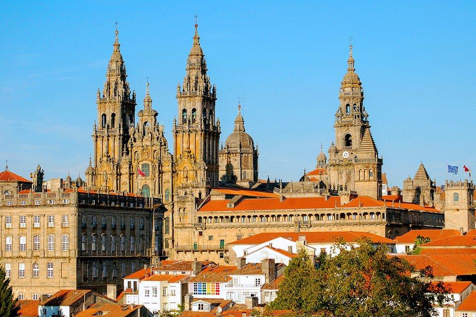 De kathedraal van Santiago de Compostela in Spanje