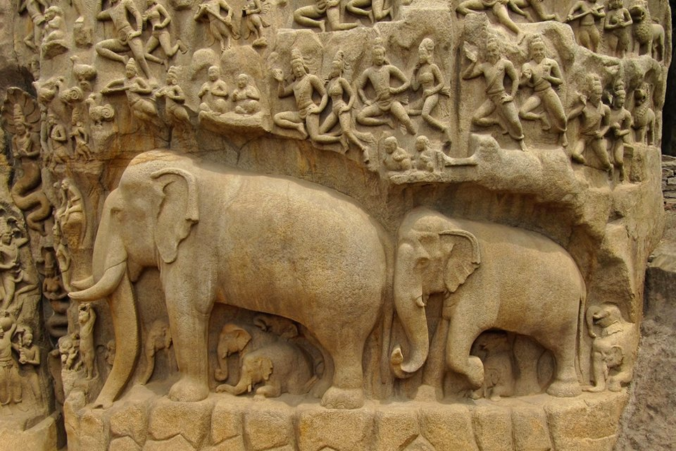 Detail tempel in Mahabalipuram, India