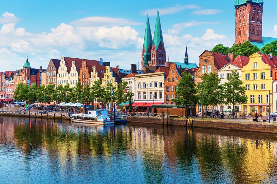 Havenfront in Lübeck, Duitsland