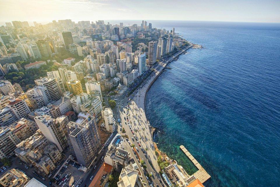 Beiroet, Libanon, vanuit de lucht