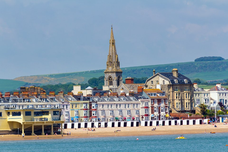 Het charmante badplaatsje Weymouth, Groot-Brittannië