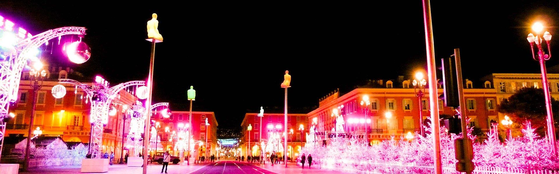 Place Masséna in Nice met kerst, Frankrijk
