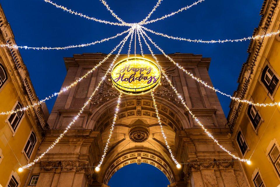 Centrum Lissabon, Portugal, tijdens kerst