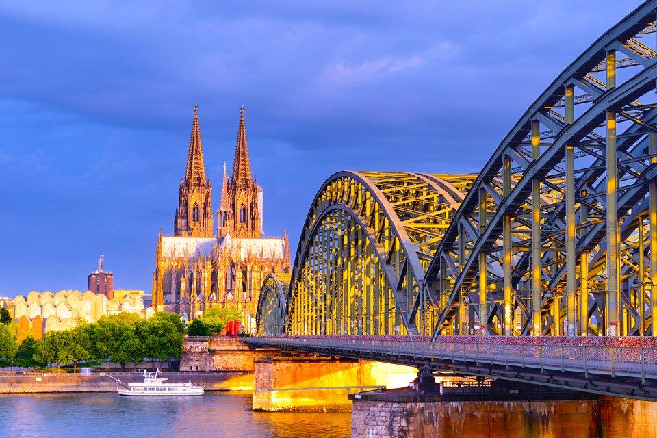 Zicht op Keulen aan de Rijn, Duitsland