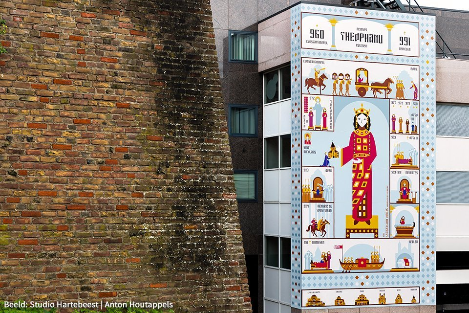 Waalpainting – De prinses uit het Oosten in Nijmegen, Nederland | Artiest: Studio Hartebeest, foto: Anton Houtappels