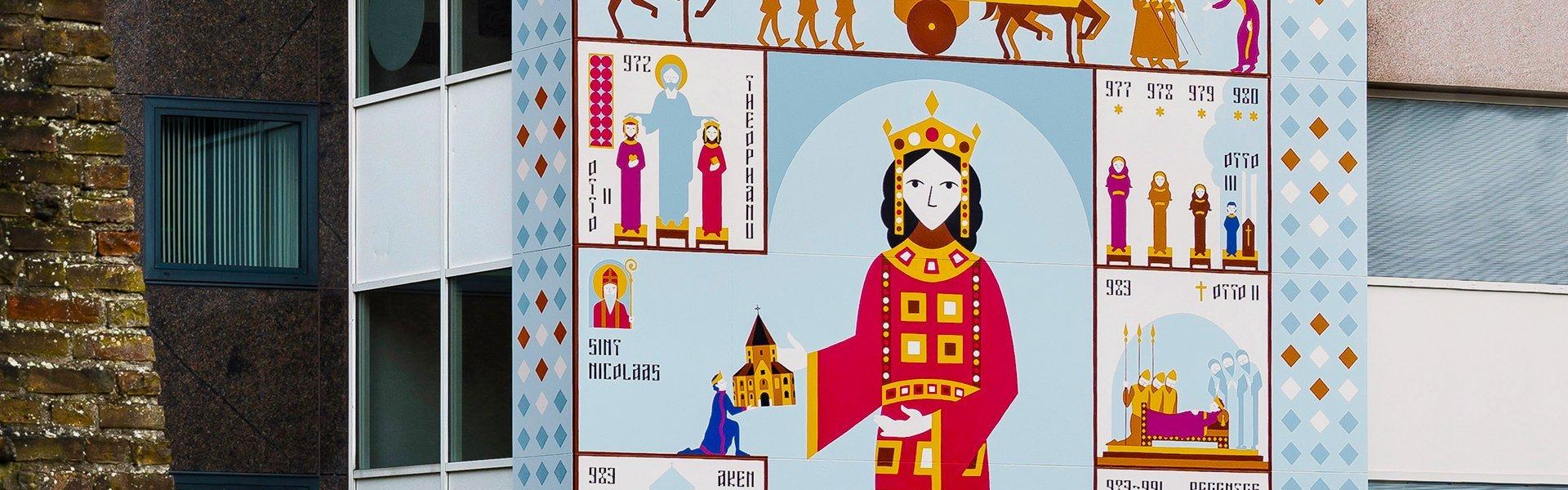 Detail van Waalpainting – De prinses uit het Oosten in Nijmegen, Nederland | Artiest: Studio Hartebeest, foto: Anton Houtappels