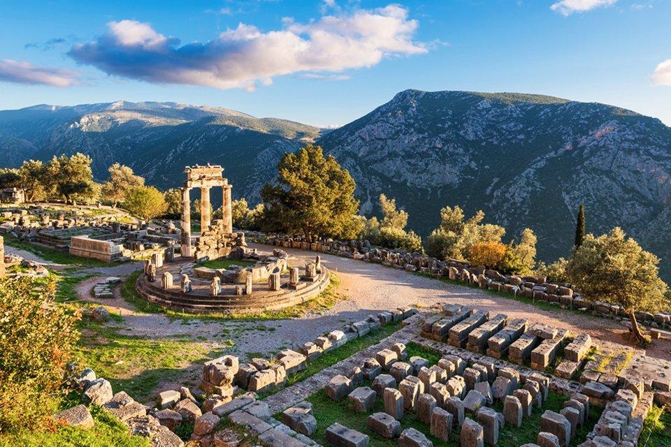 Opgraving in Delphi, Griekenland