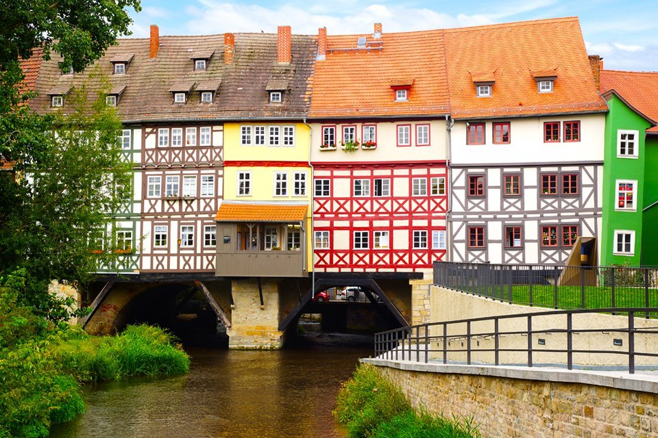 De Krämerbrucke in Erfurt, Duitsland