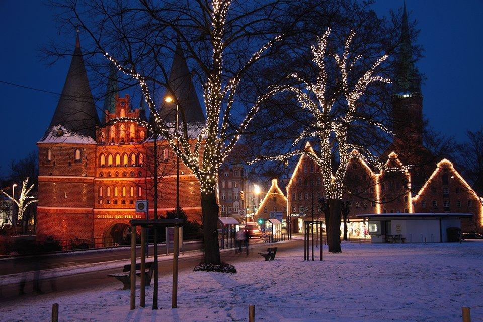 Sneeuw in Lübeck, Duitsland