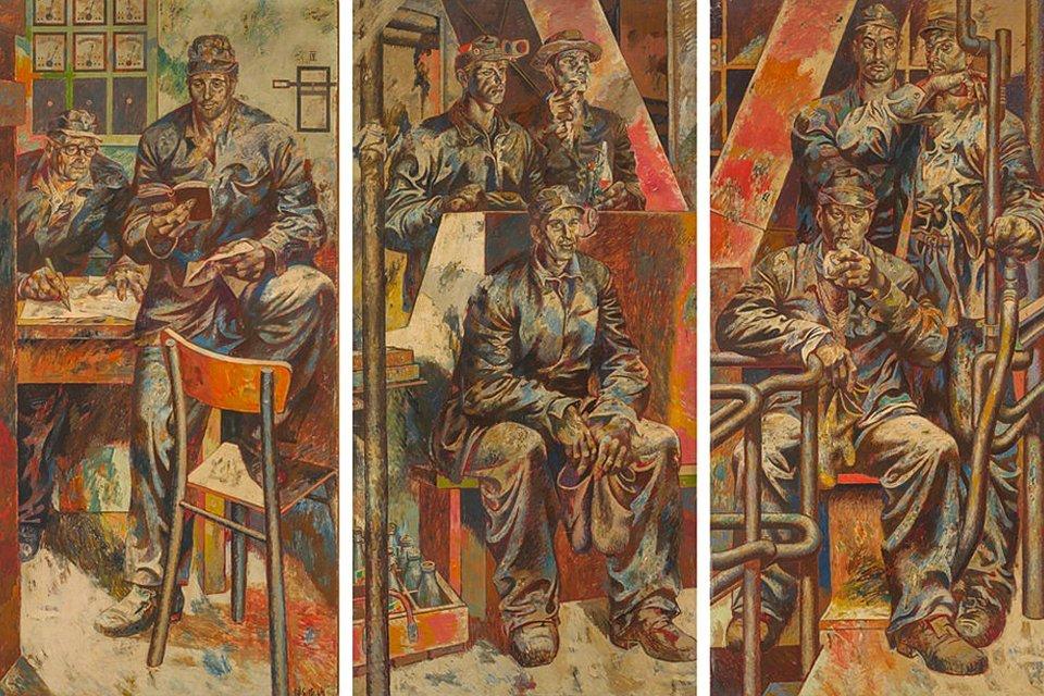Willi Sitte: Brigade Heinicke aus der Karbidfabrik des Buna-Werkes, 1963–1964