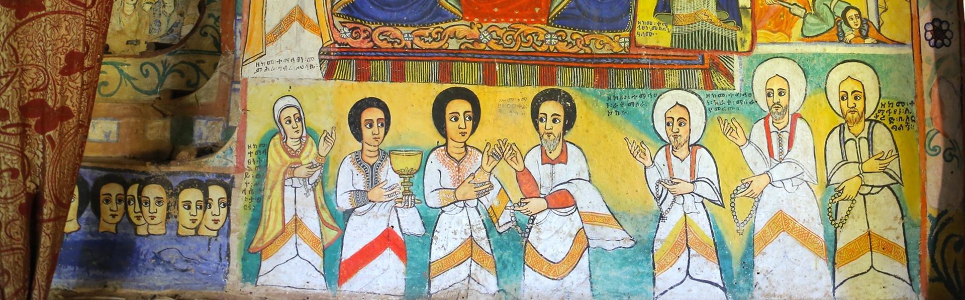 Klooster met fresco in het Tanameer, Ethiopië