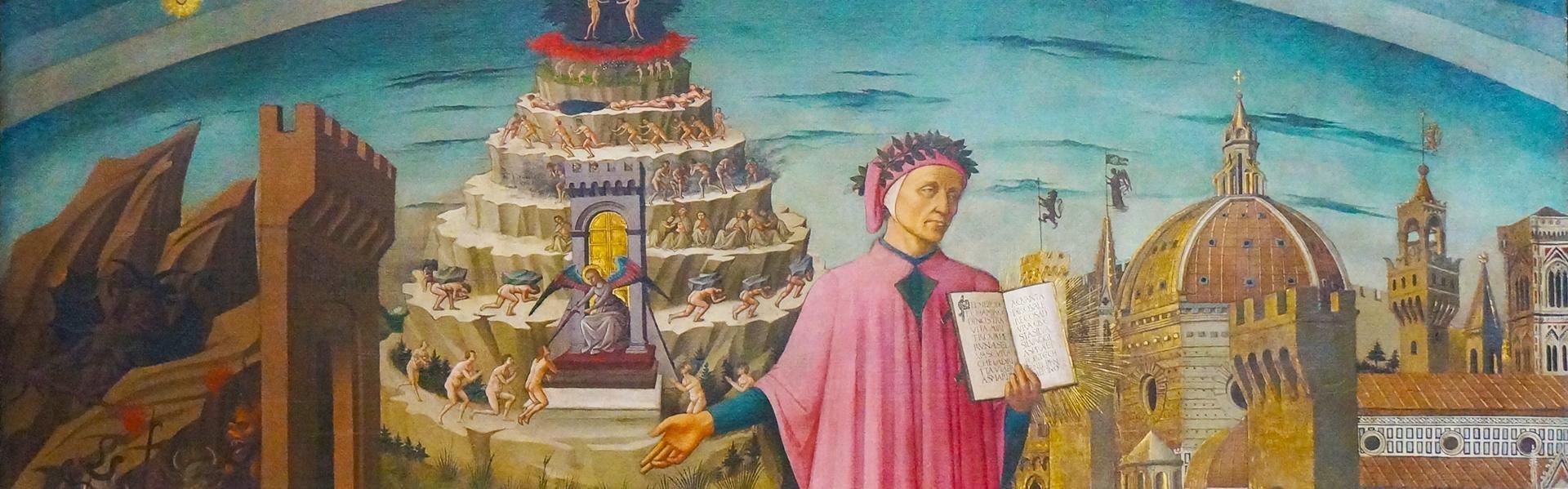 Fresco van Dante in de duomo in Florence, Italië