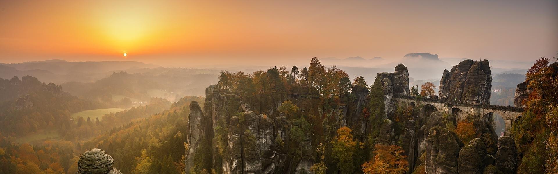 De Bastei in Saksen, Duitsland