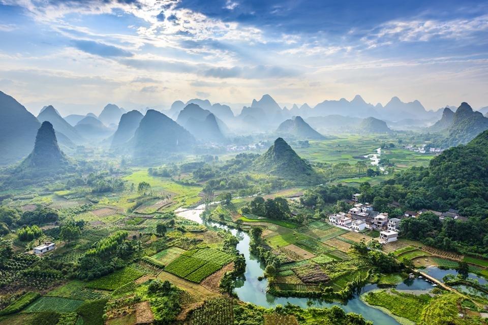 Li-rivier bij Yangshuo, China
