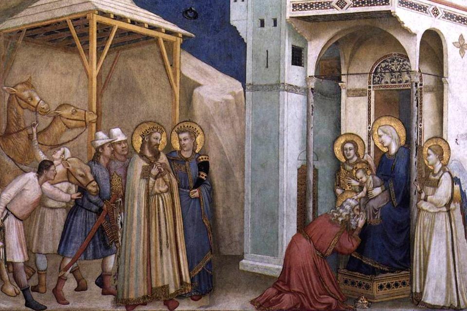 Aanbidding der Wijzen volgens Giotto in de beneden-basiliek van Sint Fransiscus in Assisi, Italië
