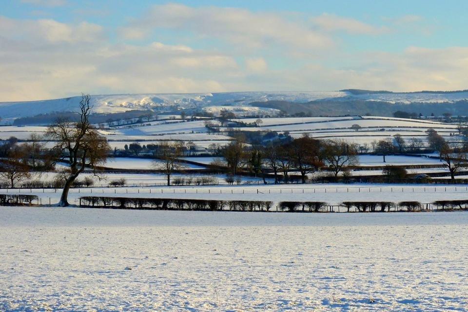 Sneeuw in Yorkshire Dales, Groot-Brittannië