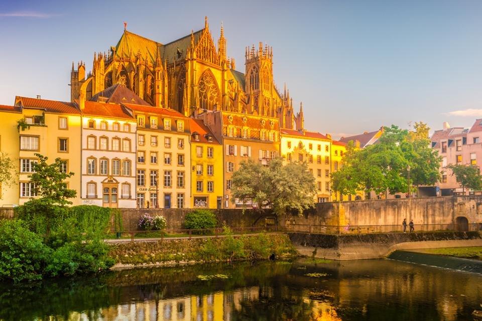 Zicht op de kathedraal van Metz, Frankrijk