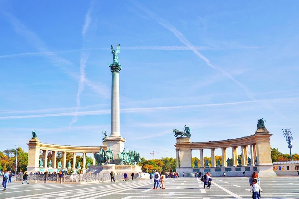 Het Heldenplein in Boedapest, Hongarije