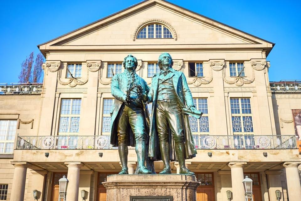 Standbeeld Goethe en Schiller, Weimar, Duitsland