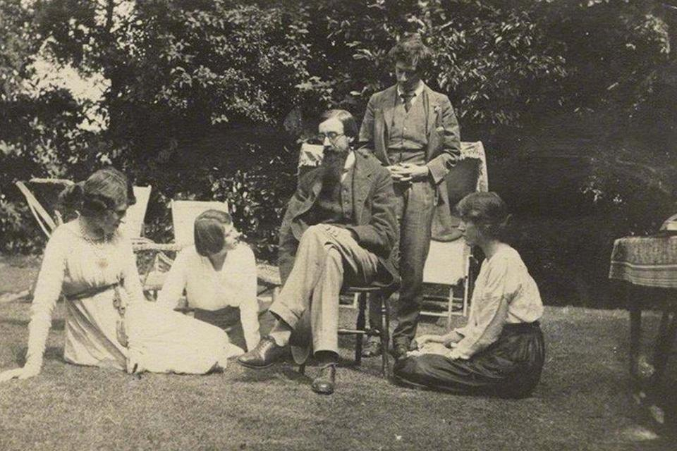 Enkele leden van de Bloomsbury Group: Lytton Strachey, Duncan Grant en Vanessa Bell, Groot-Brittannië