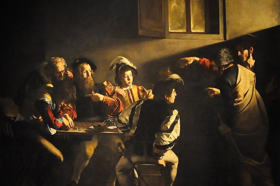 De roeping van Matteüs van Caravaggio, San Luigi dei Francesi, Rome, Italië