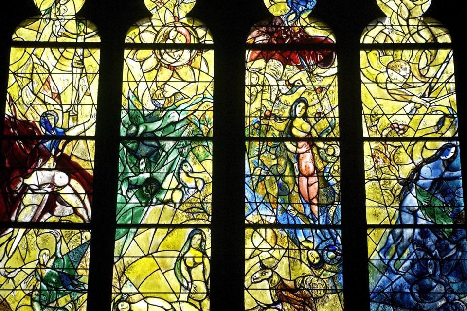 Glasvenster van Chagall in Metz, Frankrijk