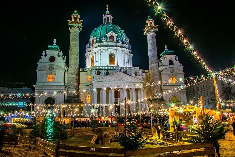 Kerst, Karlsplatz, Wenen, Oostenrijk