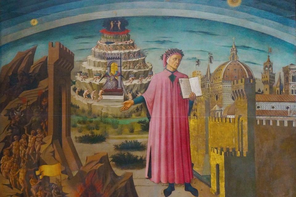 Fresco van Domenico di Michelino 'La commedia illumina Firenze' , Florence, Italië