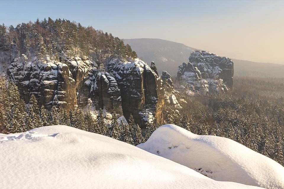 Sächsische Schweiz, winter, Duitsland