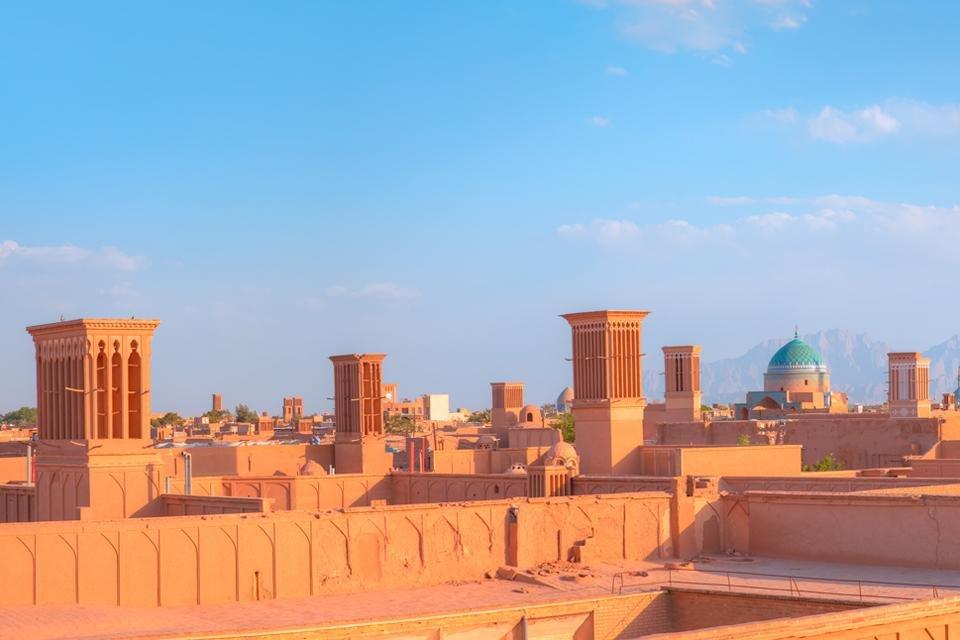 Zicht op de stilte torens in Yazd, Iran