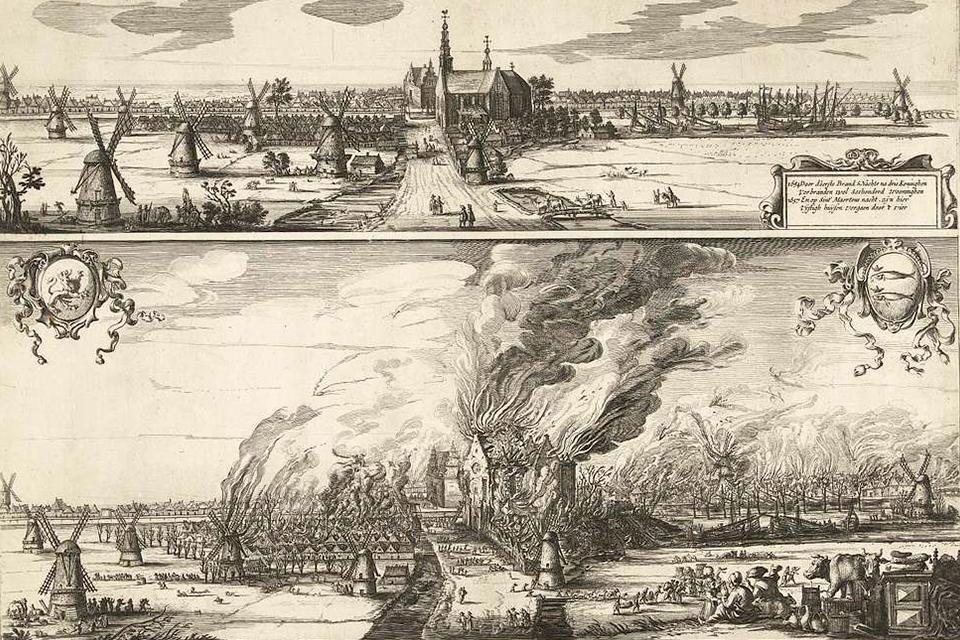 Tekening van De Rijp, voor en tijdens de brand van 1654, Nederland
