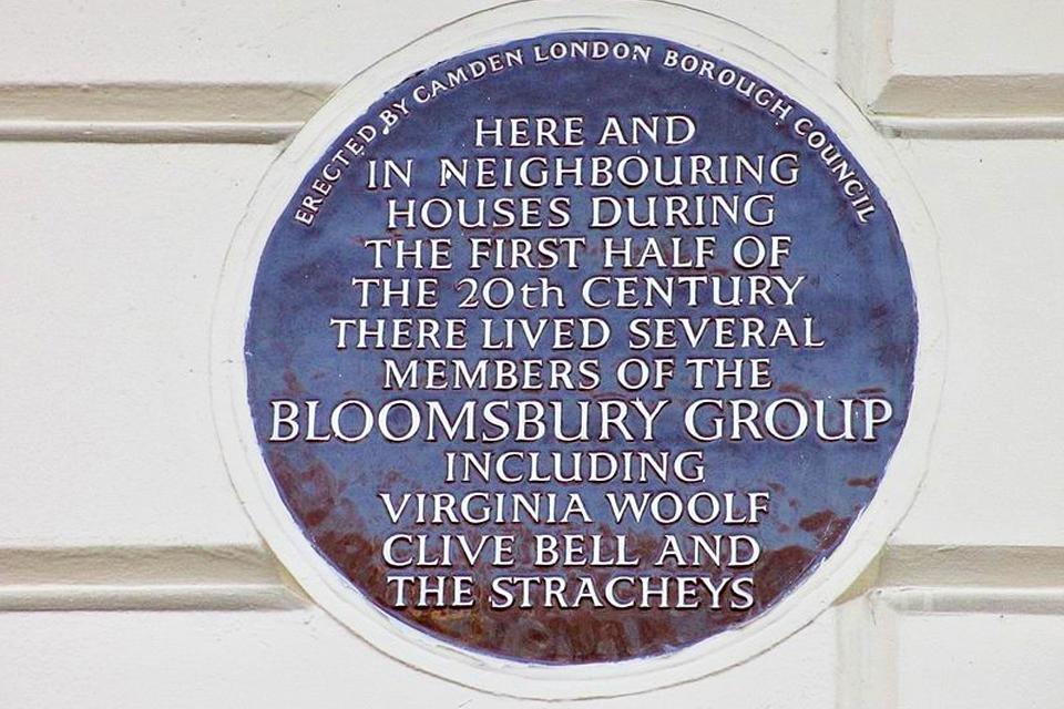 Bord Bloomsbury Group aan Gordon Square in Londen, Groot-Brittannië