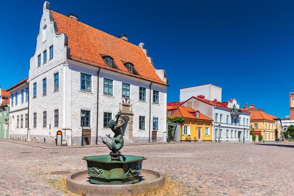 Het oude plein in Kalmar, Zweden
