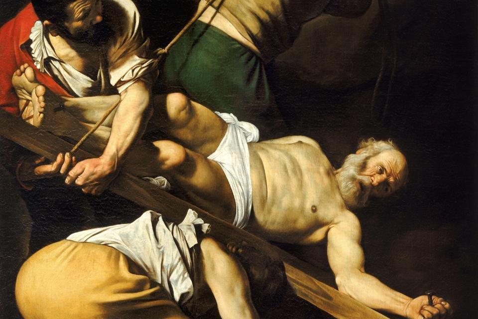 Kruisiging van Petrus van Caravaggio in de Santa Maria del Popolo, Rome, Italië