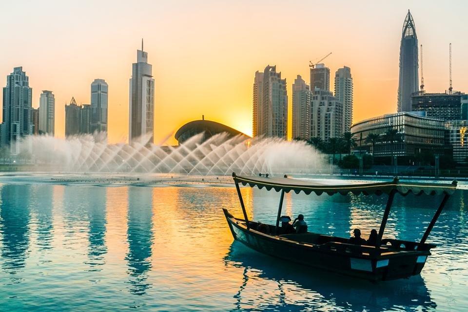 Burj Khalifa Lake in Dubai, Verenigde Arabische Emiraten