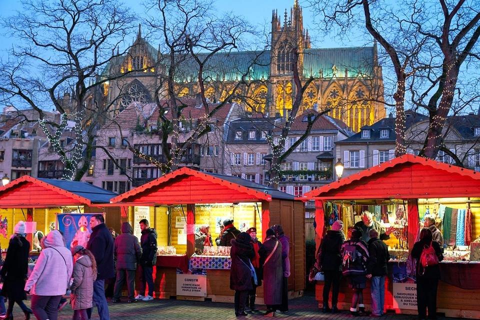 Kerstmarkt in Metz, Frankrijk