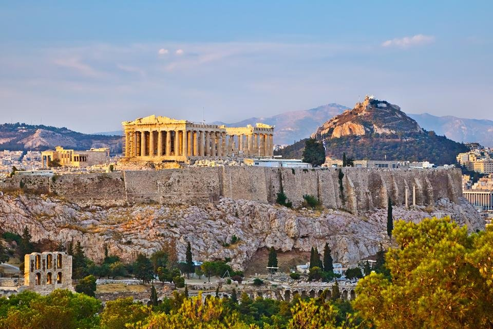 Zicht op de Akropolis in Athene, Griekenland