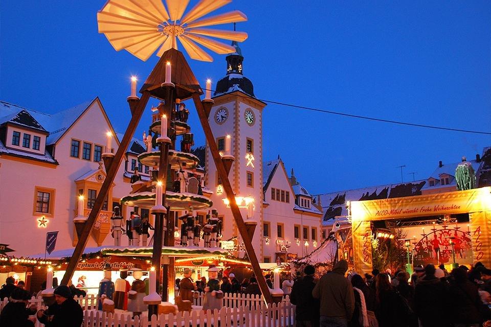 Kerstmarkt in Freiberg, Duitsland